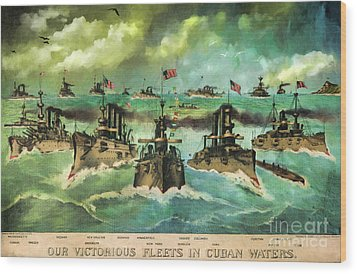 Victorious Navy - 1898 Wood Print by Lianne Schneider