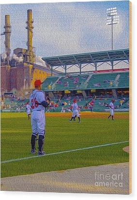 Victory Field Catcher 1 Wood Print by David Haskett