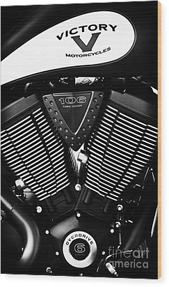 Victory Motorcycle Monochrome Wood Print by Tim Gainey