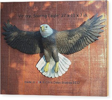 Victory - Soaring Eagle Statue Wood Print by Chris Dixon