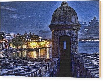 Wood Print featuring the photograph Viejo San Juan En La Noche by Daniel Sheldon