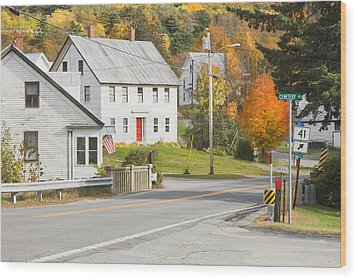 Vienna Maine In Fall Wood Print by Keith Webber Jr