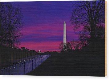 Vietnam Memorial Sunrise Wood Print