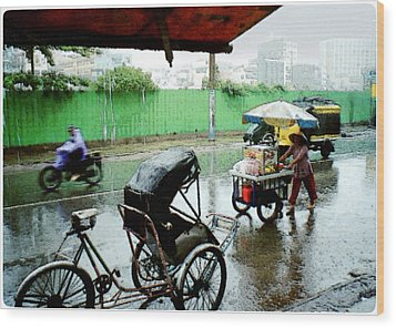 Vietnam Rainy Saigon Wood Print by Udo Linke