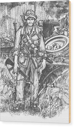 Vietnam Soldier Wood Print by Scott and Dixie Wiley