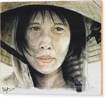 Wood Print featuring the pastel Vietnamese Woman Wearing A Conical Hat by Jim Fitzpatrick