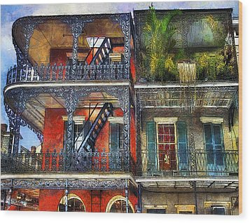 Wood Print featuring the photograph Vieux Carre' Balconies by Tammy Wetzel