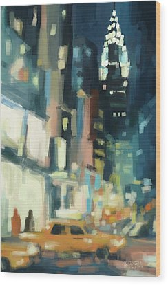 View Across 42nd Street New York City Wood Print by Beverly Brown