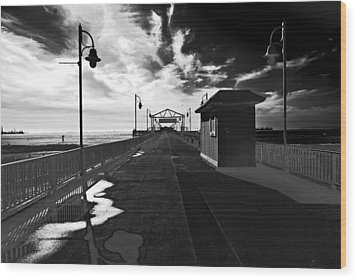 Wood Print featuring the photograph View Down The Pier by Joseph Hollingsworth