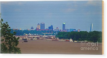 View From A Far St. Louis Downtown Wood Print by Peggy Franz
