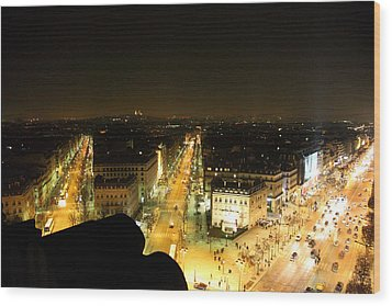 View From Arc De Triomphe - Paris France - 011316 Wood Print by DC Photographer