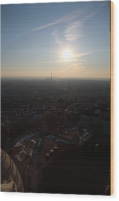 View From Basilica Of The Sacred Heart Of Paris - Sacre Coeur - Paris France - 011311 Wood Print by DC Photographer