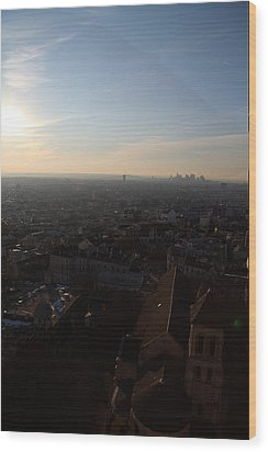 View From Basilica Of The Sacred Heart Of Paris - Sacre Coeur - Paris France - 011315 Wood Print by DC Photographer