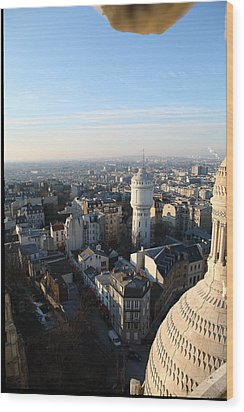 View From Basilica Of The Sacred Heart Of Paris - Sacre Coeur - Paris France - 011322 Wood Print by DC Photographer