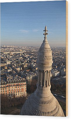 View From Basilica Of The Sacred Heart Of Paris - Sacre Coeur - Paris France - 011332 Wood Print by DC Photographer