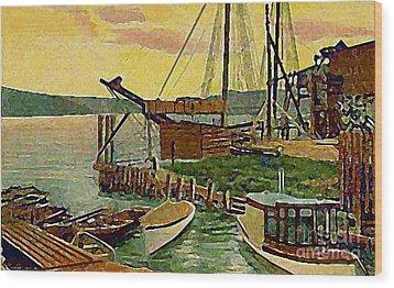 View From Boat Club In Middletown Ct Around 1910 Wood Print
