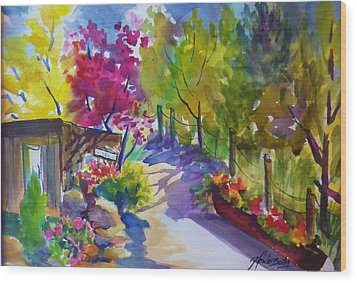 View From My Studio Door Wood Print by Therese Fowler-Bailey