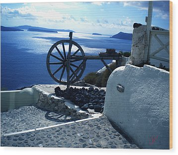 Wood Print featuring the photograph View From Santorini Island Greece by Colette V Hera  Guggenheim