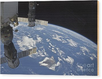 View From Space Showing Part Wood Print by Stocktrek Images