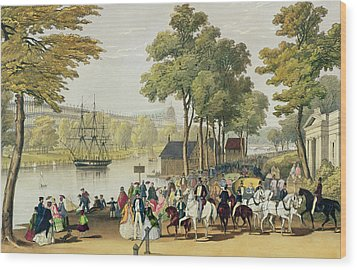 View From The North Bank Of The Serpentine Wood Print by Philip Brannan