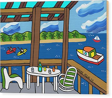 View From The Porch - Cedar Key Wood Print by Mike Segal