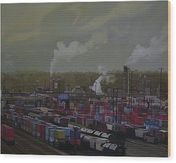 View From Viaduct Wood Print by Thu Nguyen
