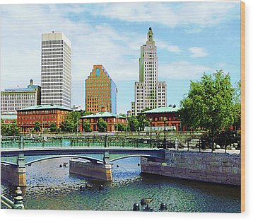 View From Waterplace Park Providence Ri Wood Print by Susan Savad