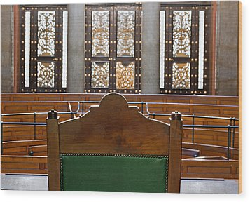 View Into Courtroom From Judges Chair Wood Print by Ken Biggs