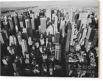 View North And Down Towards Central Park From Empire State Building Wood Print by Joe Fox