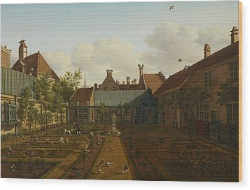 View Of A Town House Garden In The Hague Wood Print by Paulus Constantin La Fargue