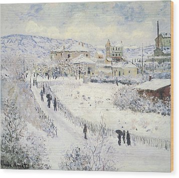 View Of Argenteuil Snow Wood Print by Claude Monet