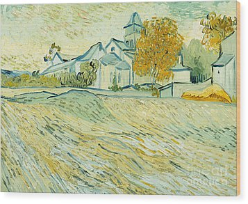 View Of Asylum And Saint-remy Chapel Wood Print by Vincent van Gogh