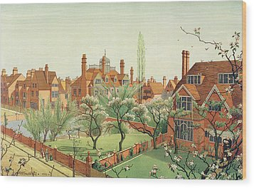 View Of Bedford Park Wood Print by English School