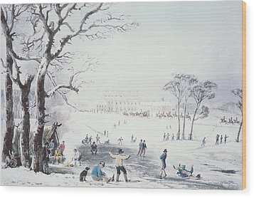 View Of Buckingham House And St James Park In The Winter Wood Print by John Burnet