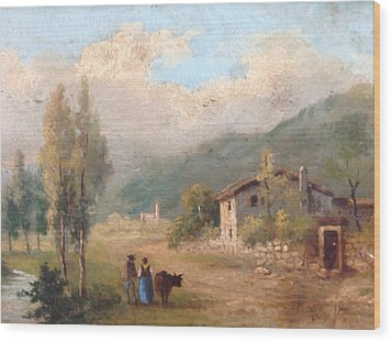 View Of Countryside Wood Print by Egidio Graziani