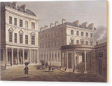 View Of Cross Bath, Bath Street Wood Print by John Claude Nattes