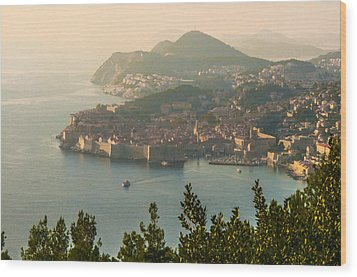 Wood Print featuring the photograph View Of Dubrovnik Peninsula by Phyllis Peterson