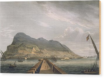 View Of Gibraltar Wood Print by Thomas Whitcombe