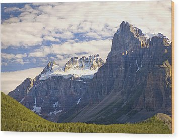 View Of Glacial Mountains And Trees In Wood Print by Laura Ciapponi