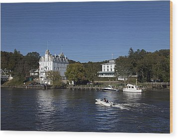 View Of Goodspeed Opera House In East Haddam  From The Connecticut Rive Wood Print by Carol M Highsmith