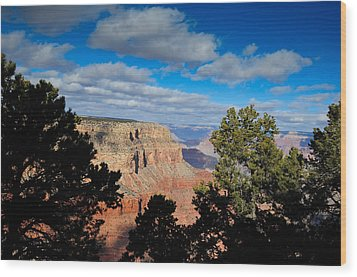 Grand Canyon Through The Junipers Wood Print by Bonnie Fink