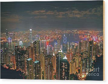View Of Hong Kong From The Peak Wood Print by Lars Ruecker