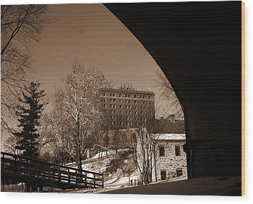 View Of Hotel Bethlehem From Colonial Industrial Quarter - Sepia Wood Print by Jacqueline M Lewis