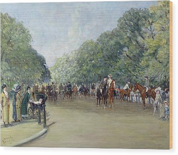 View Of Hyde Park With Figures On Rotten Row  Wood Print by Albert Jnr Ludovici