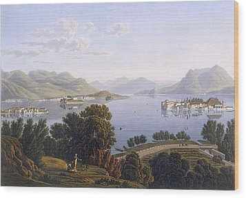 View Of Lake Maggiore And The Borromean Wood Print by Swiss School