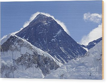 View Of Mount Everest From The Summit Of Kala Pathar In The Everest Region Of Nepal Wood Print by Robert Preston