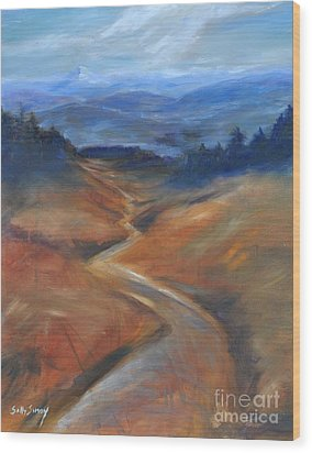 Wood Print featuring the painting View Of Mt Hood by Sally Simon
