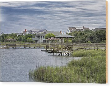 View Of Pawleys From The Creek Wood Print by Sandra Anderson