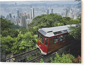 View Of Peak Tram Arriving At The Top Wood Print by Axiom Photographic