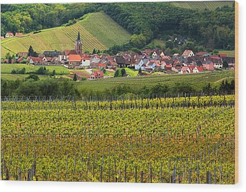 View Of Rodern From The Vineyards Of Alsace Wood Print by Greg Matchick